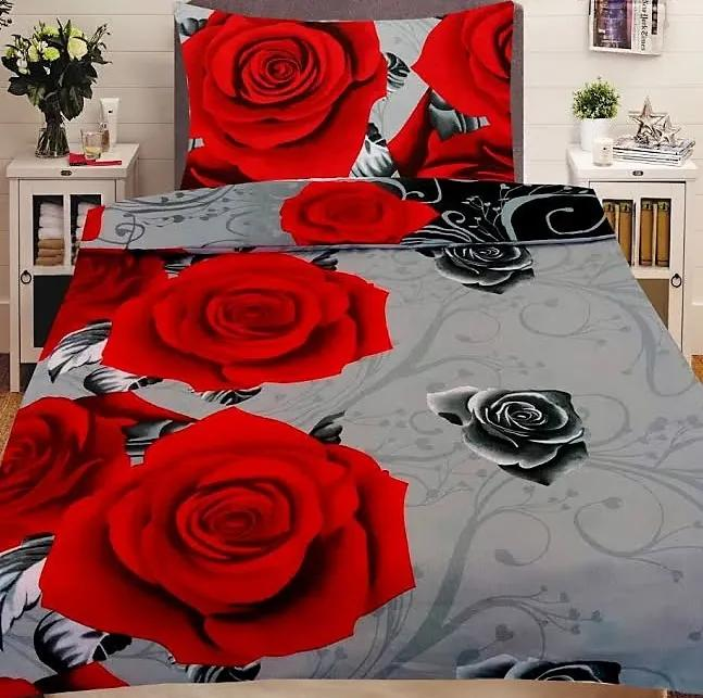 HoD Dvojstranné Obliečky Červené Ruže Bavlna 70x90 140x200 cm