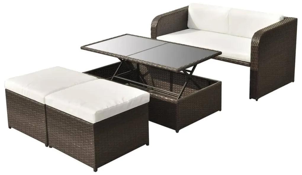 vidaXL 9-dielna záhradná sedacia súprava, hnedá, polyratan
