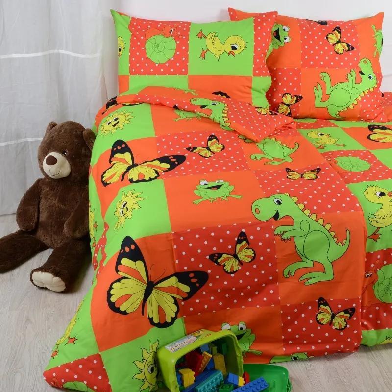 Obliečky bavlnené detské Dinosaurus červené TiaHome 1x Vankúš 90x70cm, 1x Paplón 140x200cm