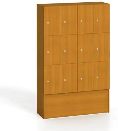 Drevená skrinka s odkládacími boxy, 12 boxov, čerešňa