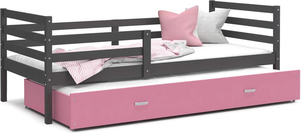 GL Racek P2 posteľ s prístelkou sivá Farba: Ružová, Rozmer: 190x80