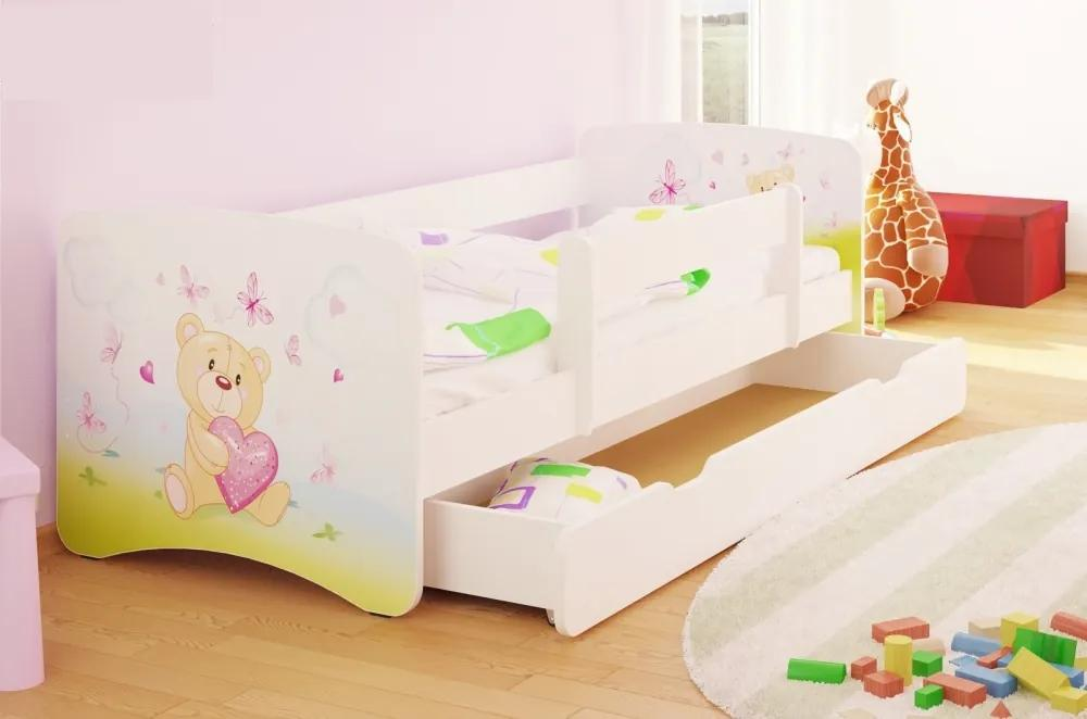 MAXMAX Detská posteľ zamilovaní TEDDY funny 160x80 cm - sa zásuvkou 160x80 pre dievča ÁNO