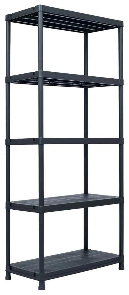 vidaXL Regál s úložnými poličkami čierny 90x60x180 cm plastový 500 kg