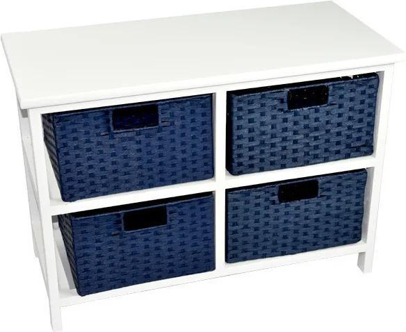 Vingo Biela komoda s modrými košíkami z papierového povrázku