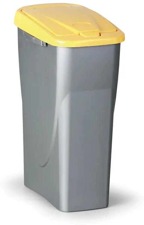 Odpadkový kôš (š x h x v): 25 x 42 x 62 cm, 40 l - veko: žlté
