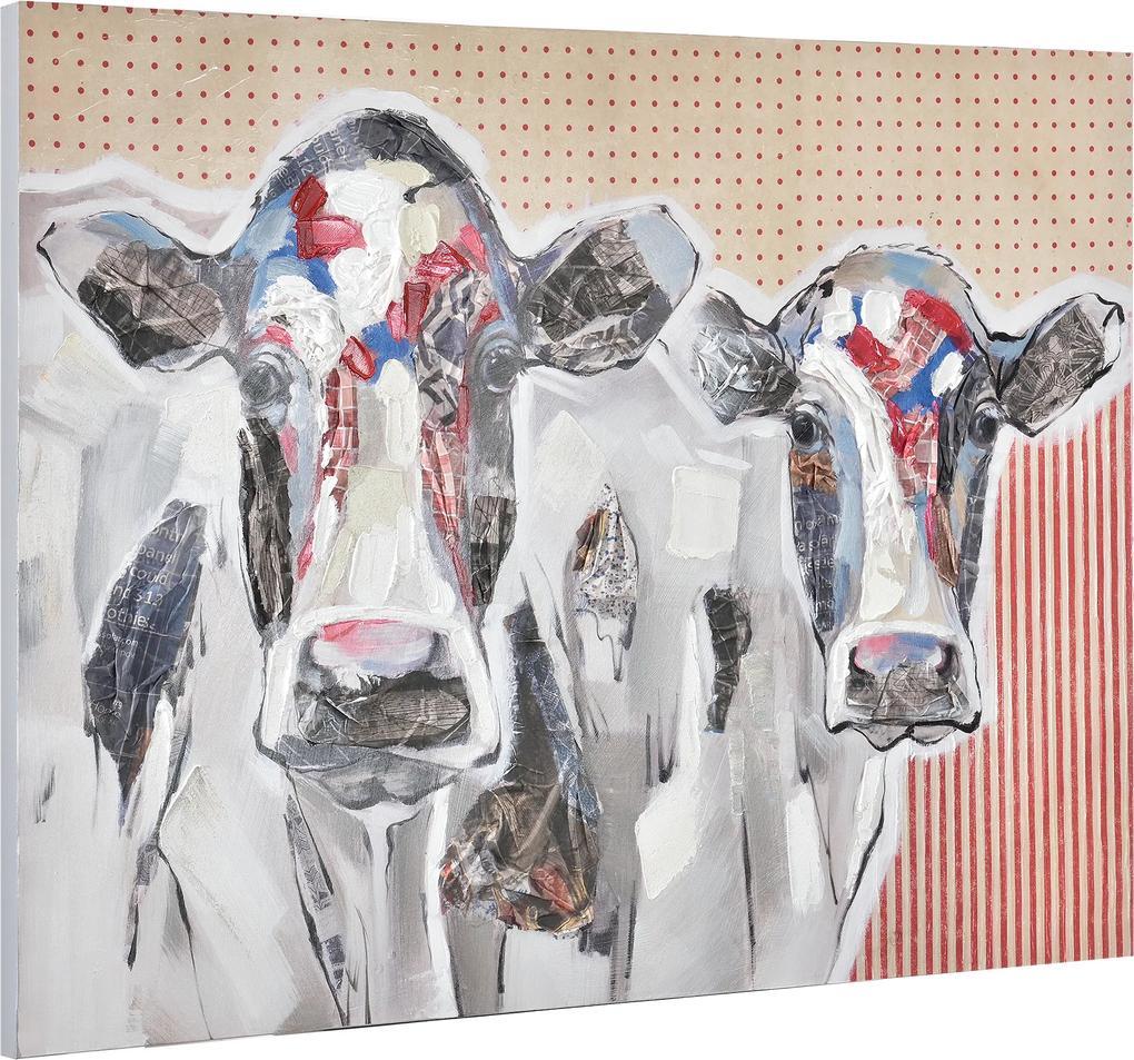 [art.work] Ručne maľovaný obraz - kravy - plátno napnuté na ráme - 90x120x3,8 cm