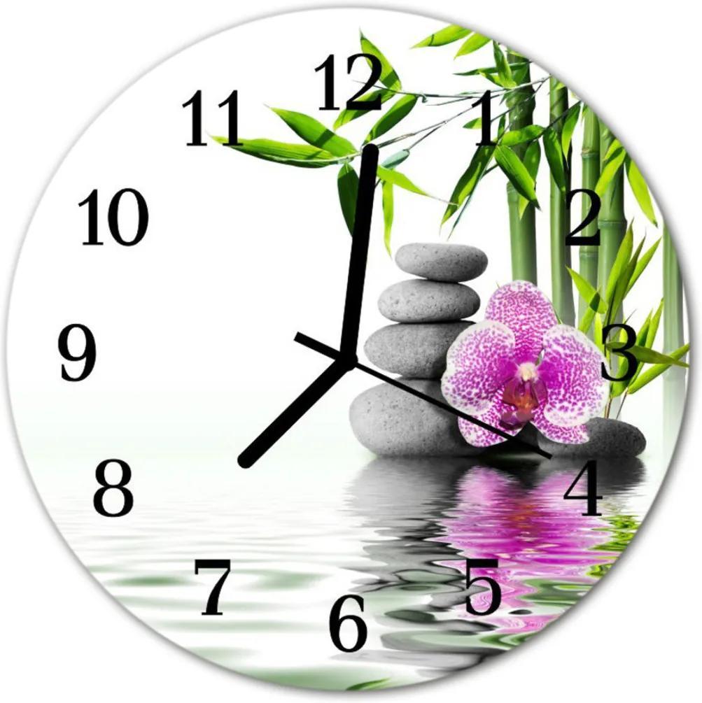 Nástenné skleněné hodiny Kameny orchideje