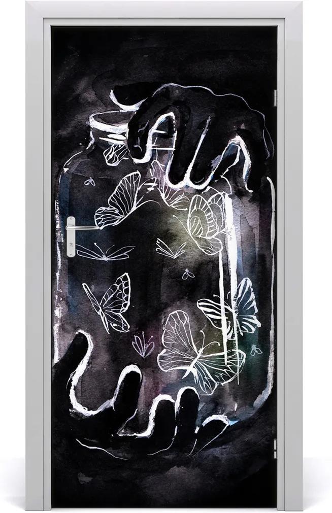 Samolepící fototapeta na dveře Motýli w słoiku