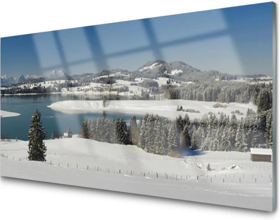 Plexisklo obraz Jezero sníh krajina hory