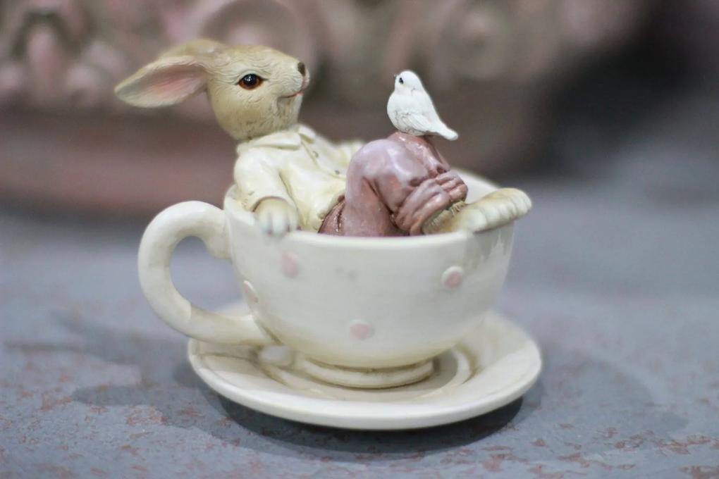 Krémová šálka s hnedým zajačikom 10cm