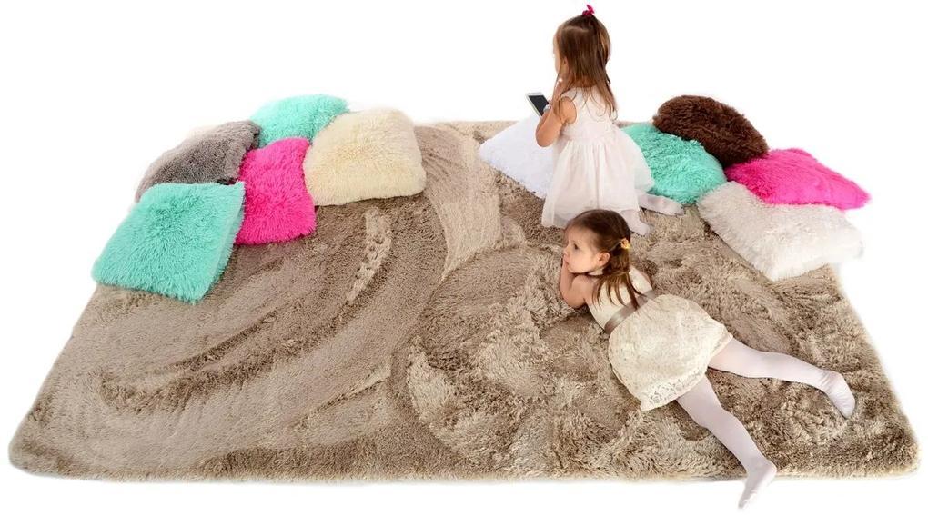 MAXMAX Plyšový detský koberec CAPPUCCINO hnedá
