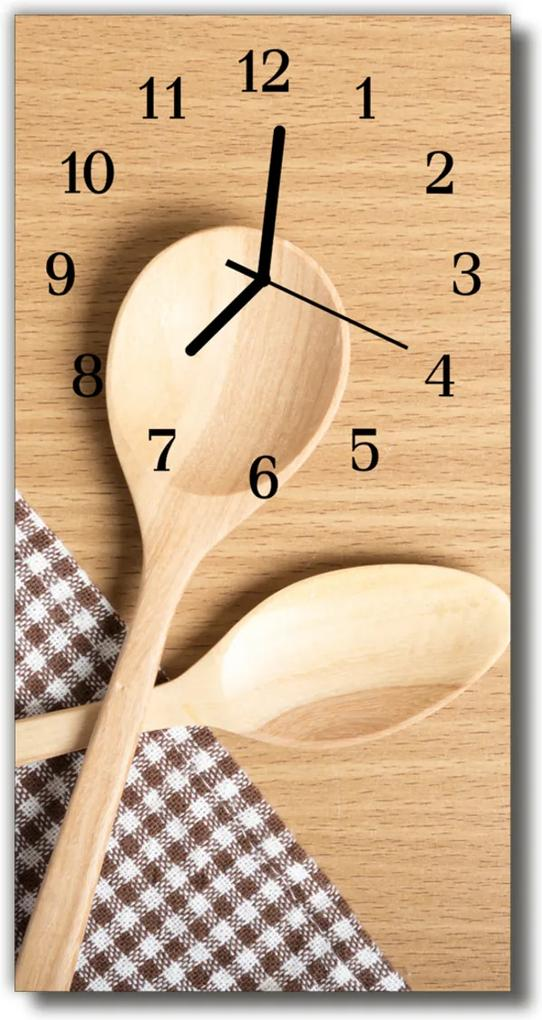 Nástěnné hodiny vertikální Kuchyňská lžíce béžová