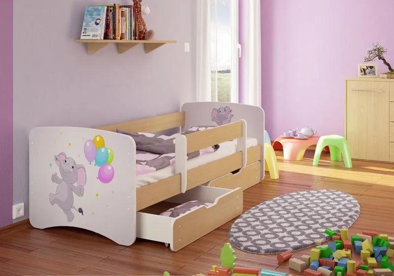 MAXMAX Detská posteľ Sloník funny 180x80 cm - sa zásuvkou 180x80 pre dievča ÁNO