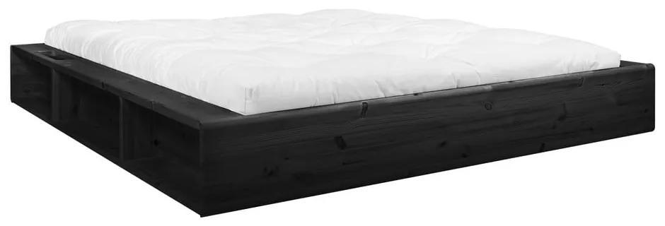 Čierna dvojlôžková posteľ z masívneho dreva s úložným priestorom a futonom Latex Karup Design, 140 x 200 cm