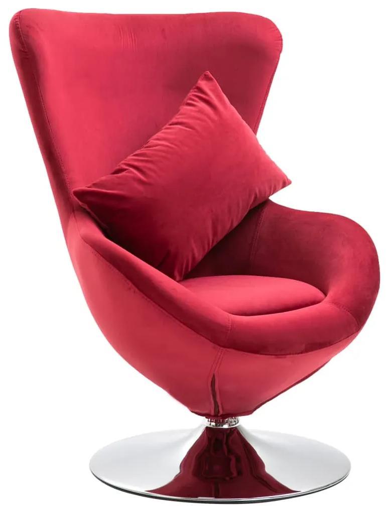 vidaXL Otočná stolička v tvare vajca s vankúšom červená zamatová