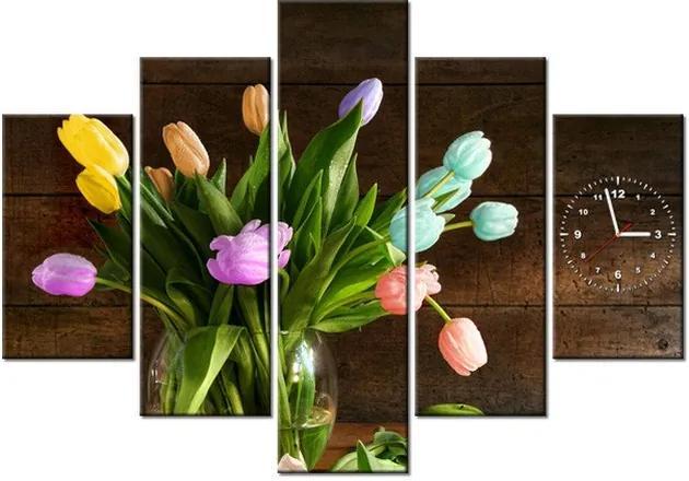 Tlačený obraz s hodinami Farebné tulipány 150x105cm ZP2150A_5H