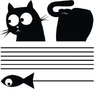 Samolepka na stenu, motív mačka a ryba