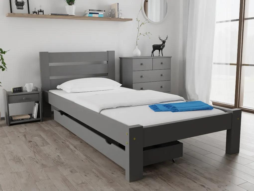 Posteľ Amelia 80 x 200 cm, sivá Rošt: Bez roštu, Matrac: s matracom DELUXE 15 cm