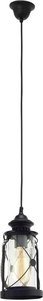 Interierové rustikálne svietidlo EGLO BRADFORD čierna E27 49213