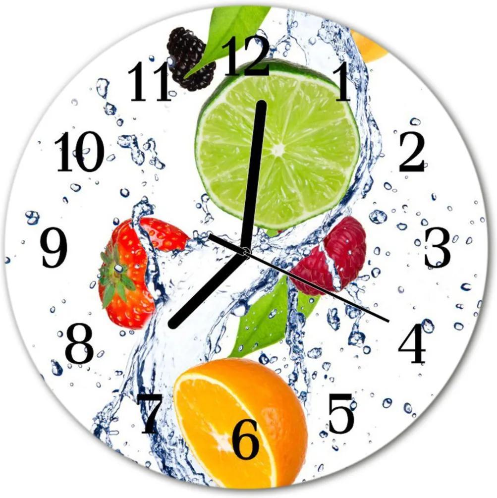Skleněné hodiny kulaté Citronové ovoce