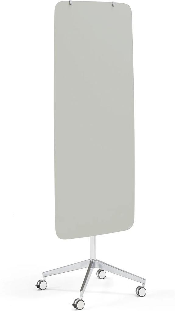 Sklenená magnetická tabuľa Stella so zaoblenými rohmi, s kolieskami, svetlošedá