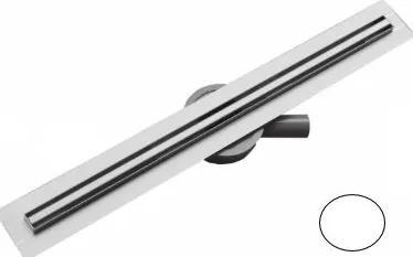 MEXEN Flat nerezový sprchový žľab s rotačným 360° sifónom 120 cm, vzor SLIM, biela, 1241120