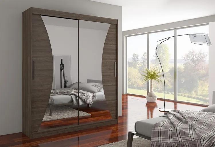 Skriňa s posuvnými dverami 180 cm Šarlota - odtieň hnedá