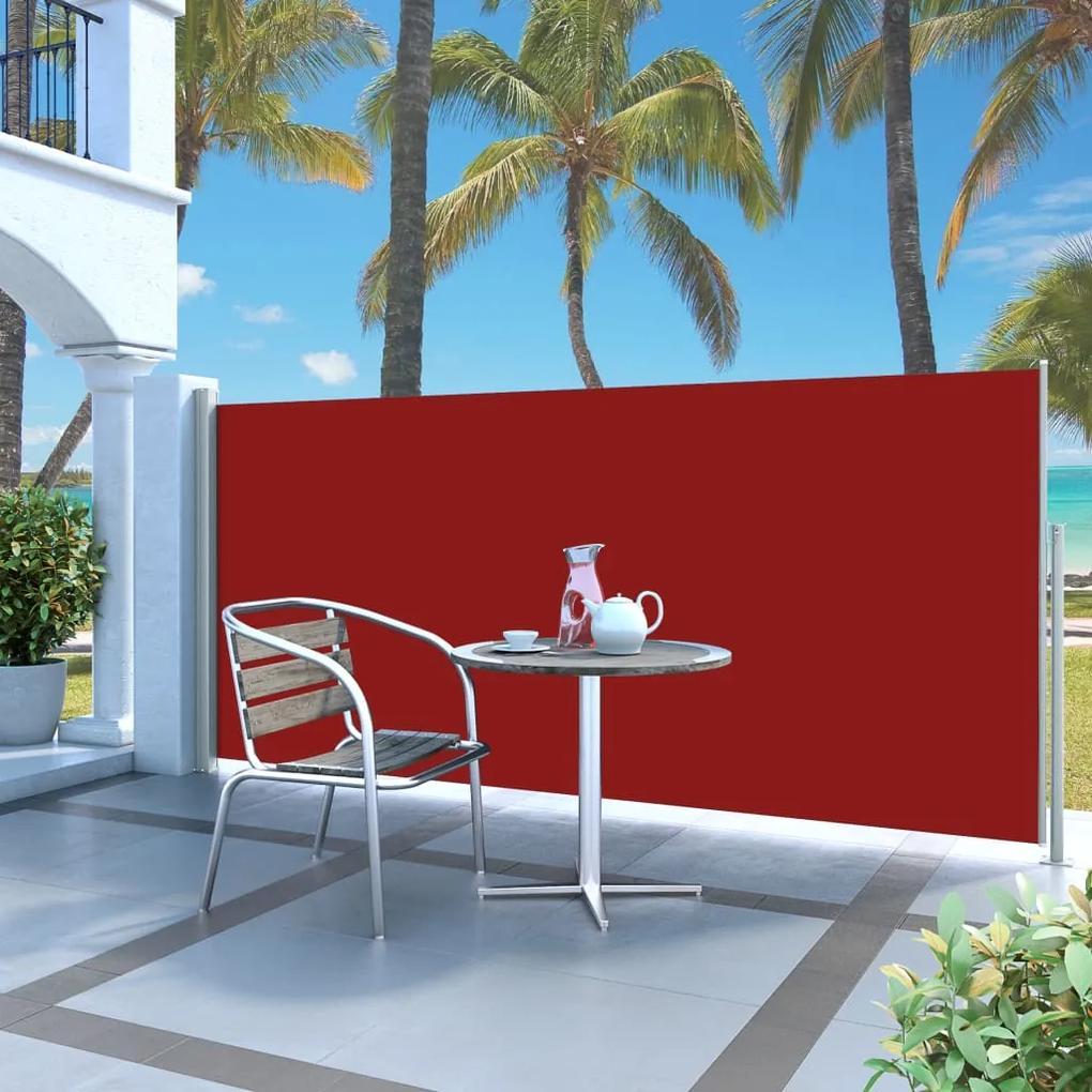 vidaXL Zaťahovacia bočná markíza červená 140 x 300 cm