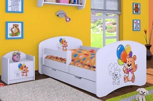 MAXMAX Detská posteľ so zásuvkou 180x90cm MEDVÍDCI S BALONKY