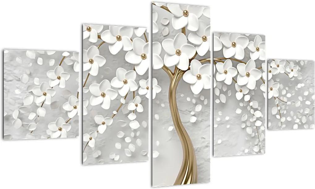 Obraz bieleho stromu s kvetinami (125x70 cm), 40 ďalších rozmerov