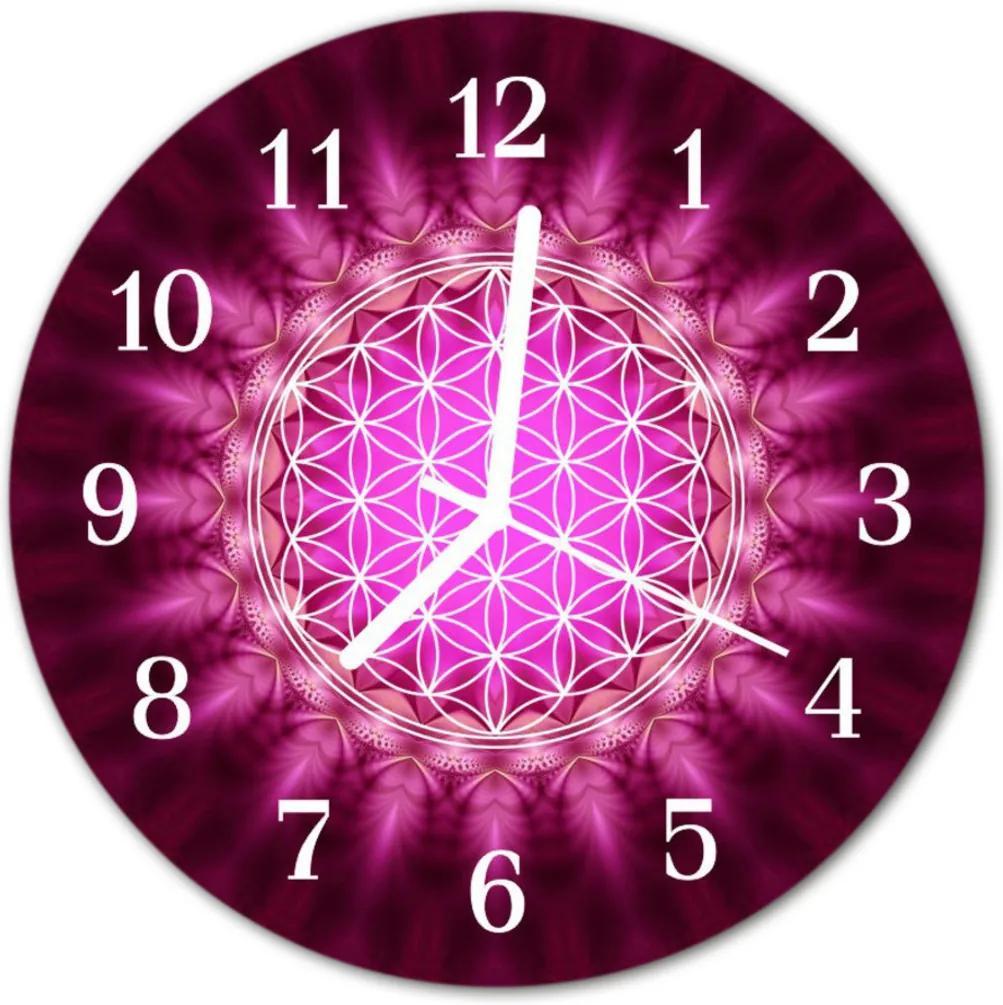 Nástenné skleněné hodiny abstrakce