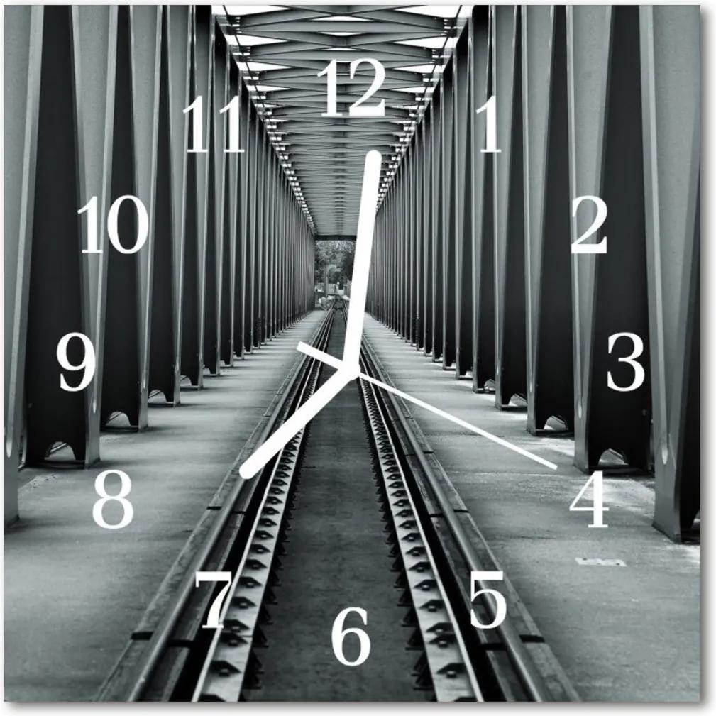 Nástenné skleněné hodiny Železniční tratě