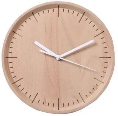 Drevené nástenné hodiny PANA OBJECTS Meter, (buk), prírodná, biela (26 cm.) QLPN10040