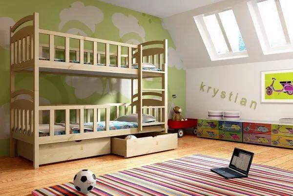 MAXMAX Detská poschodová posteľ z MASÍVU 200x90cm so zásuvkami - PP007 200x90 ÁNO