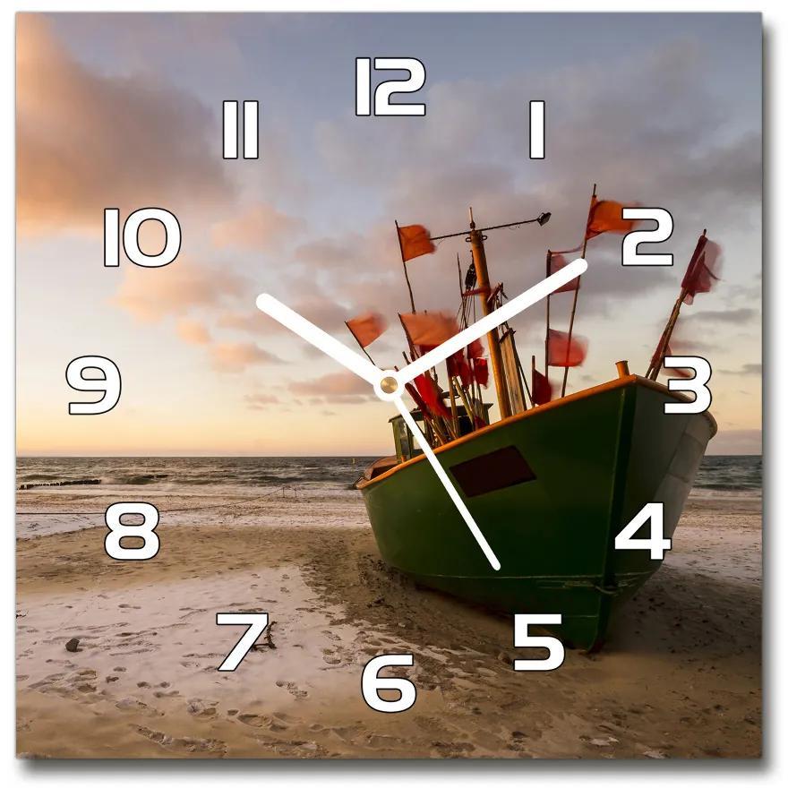 Sklenené hodiny štvorec Rybárska loď pláž pl_zsk_30x30_f_102494694