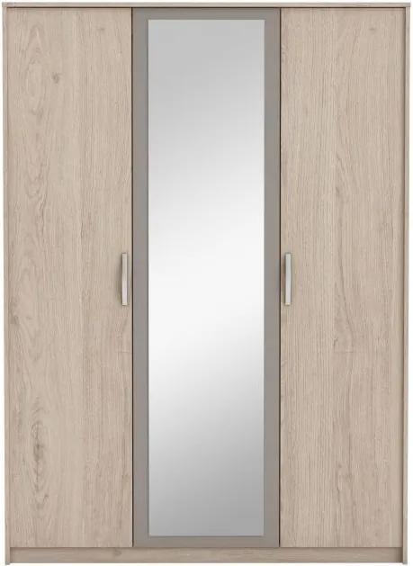 TEMPO KONDELA Graphic Typ 1 3D šatníková skriňa so zrkadlom dub arizona / sivá