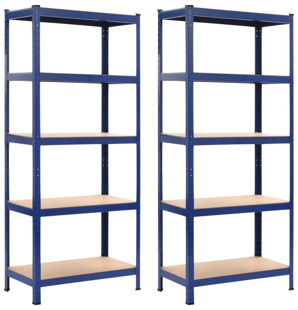 vidaXL Úložné police 2 ks modré 80x40x180 cm oceľ a MDF