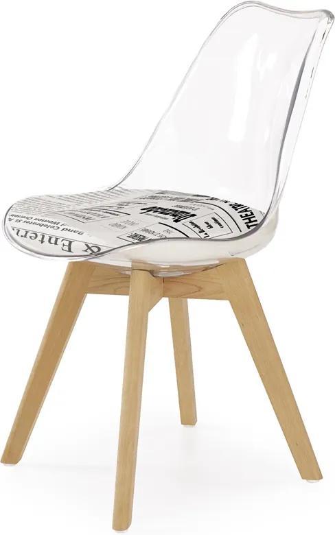 HALMAR K246 jedálenská stolička vzor noviny / priehľadná / buk