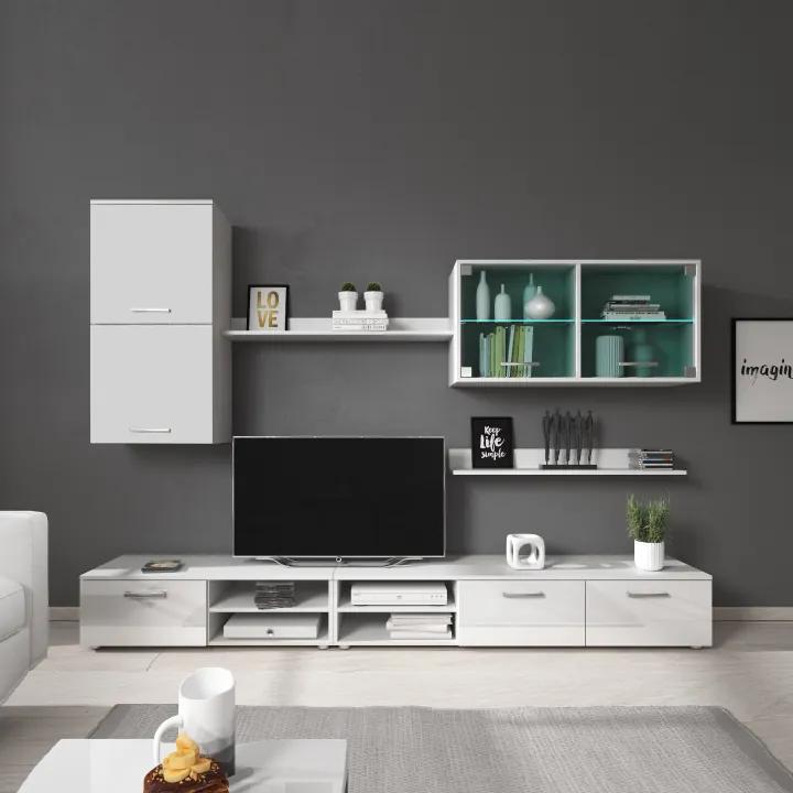 Obývacia stena, biela/biely lesk, KLARENA