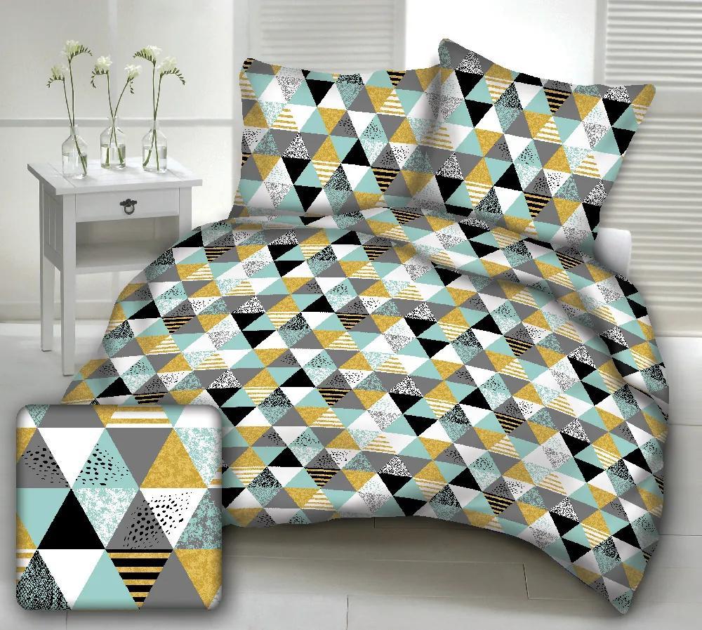Posteľná obliečka trojuholník tyrkys 140x200/70x90cm