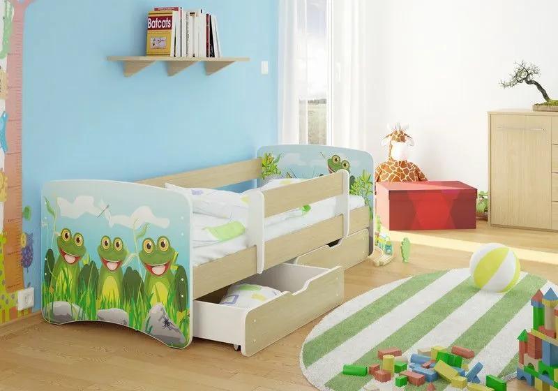 MAXMAX Detská posteľ žabička funny 160x90cm - so zásuvkou 160x90 pre všetkých ÁNO