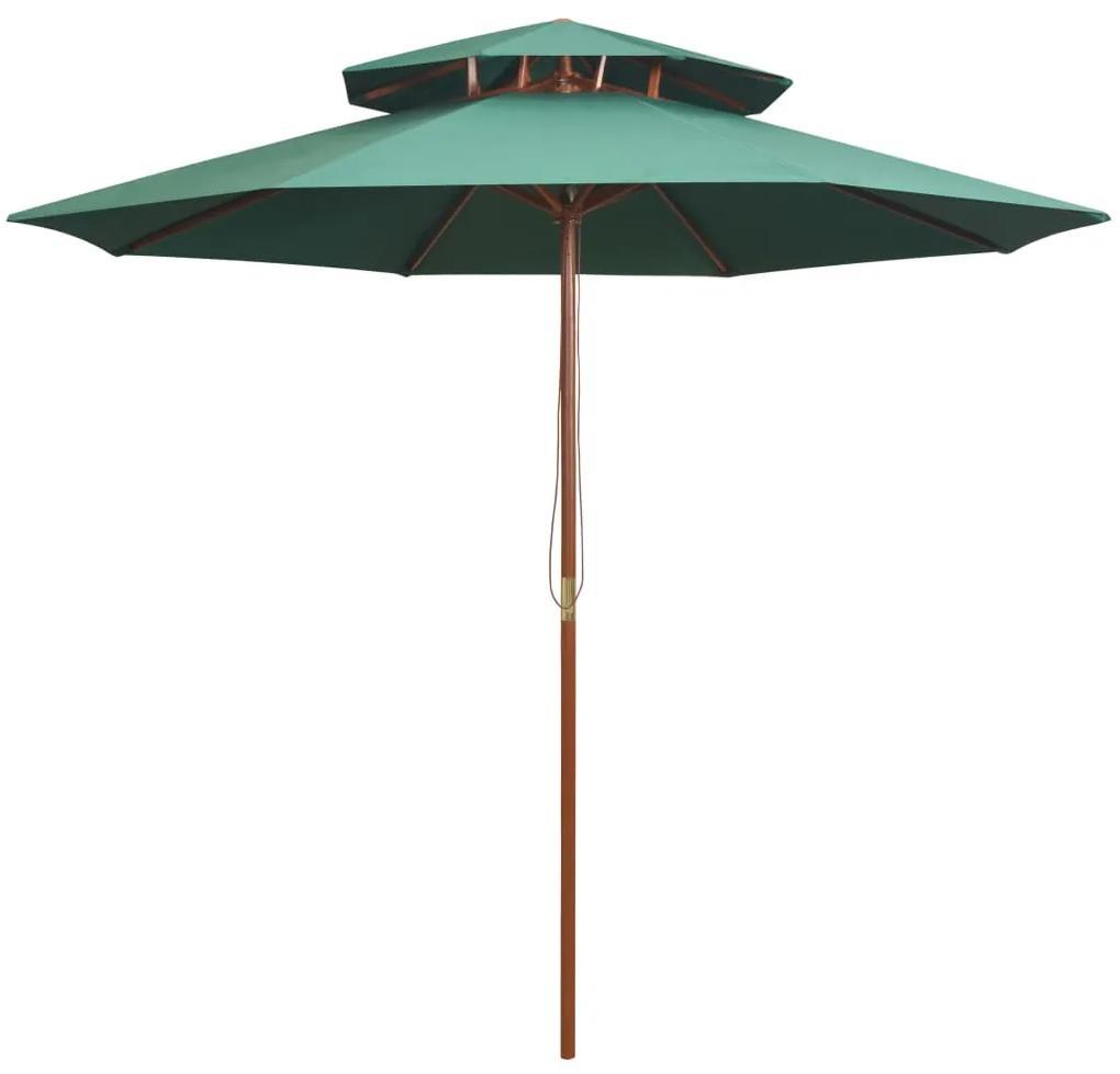 vidaXL Dvojitý slnečník s drevenou konštrukciou, 270x270 cm, zelený