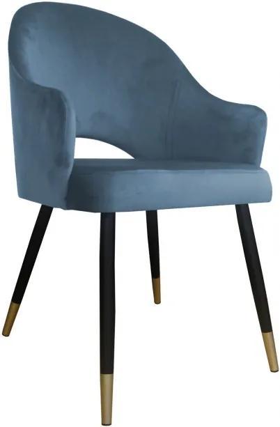 Moderná čalúnená stolička Windy čierno-zlaté nohy