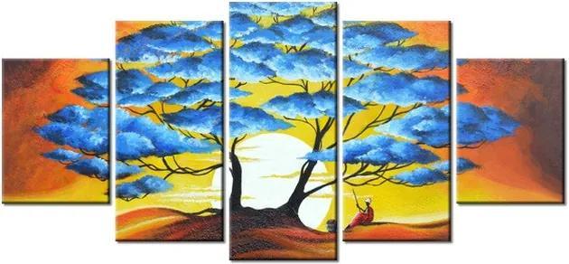Tlačený obraz Odpočinok pod modrým stromom 150x70cm 3895A_5B