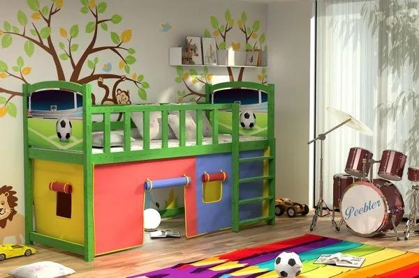MAXMAX Vyvýšená detská posteľ z MASÍVU 200x80cm s obrázkom - ZP005 200x80 NIE