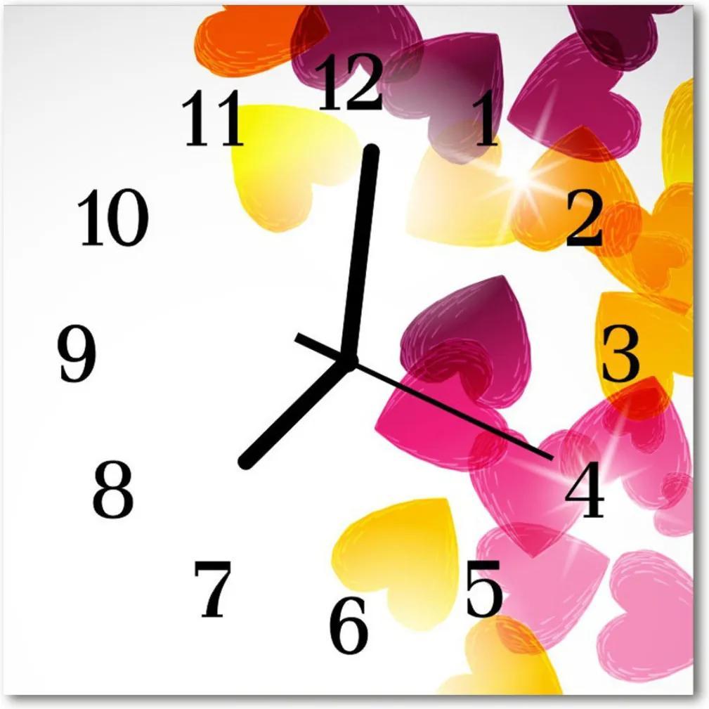 Skleněné hodiny čtvercové Barevné srdce