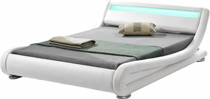 TEMPO KONDELA Filida 180 čalúnená manželská posteľ s roštom a osvetlením biela