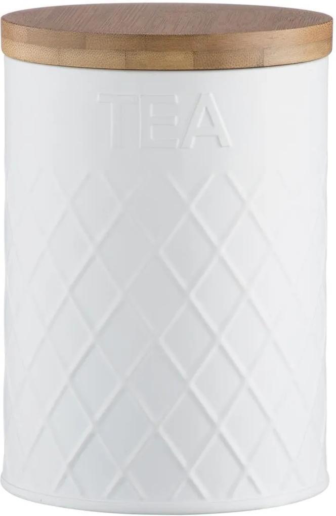 Dóza na sypaný čaj TYPHOON Embossed Tea, (kov,bambus) biela 1401.659