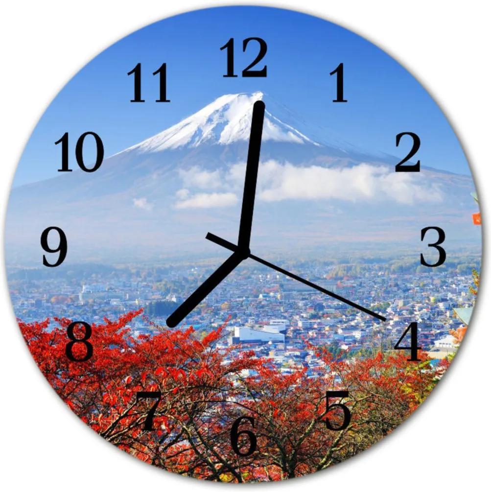 Nástenné skleněné hodiny horský