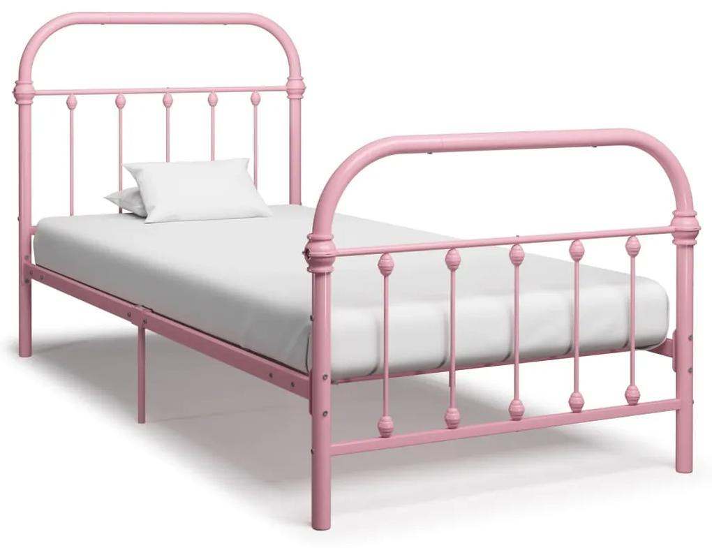 vidaXL Posteľný rám, ružový, kov 90x200 cm